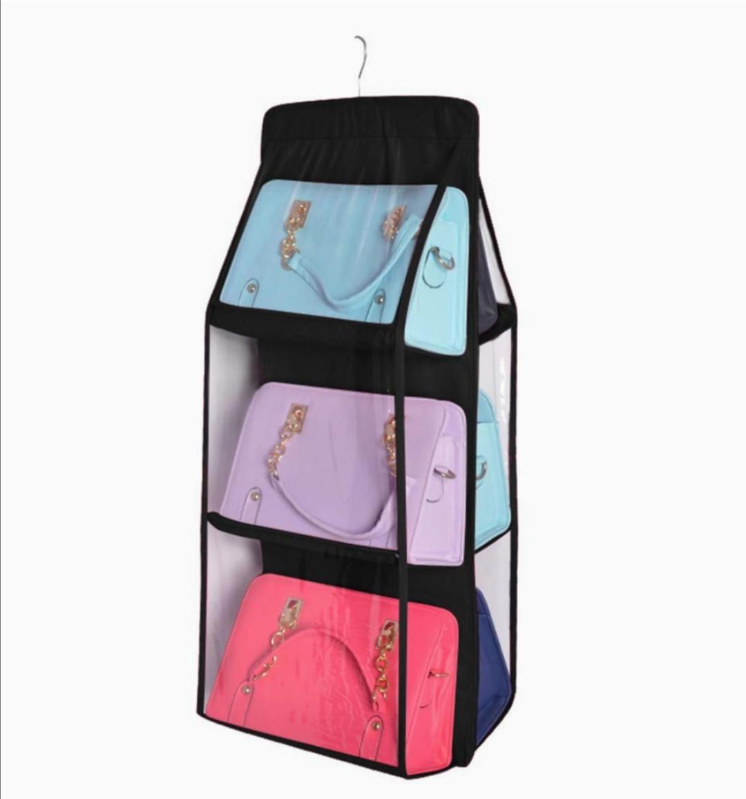 Подвесной органайзер на 6 отделений черного цвета для хранения сумок и мелких предметов одежды