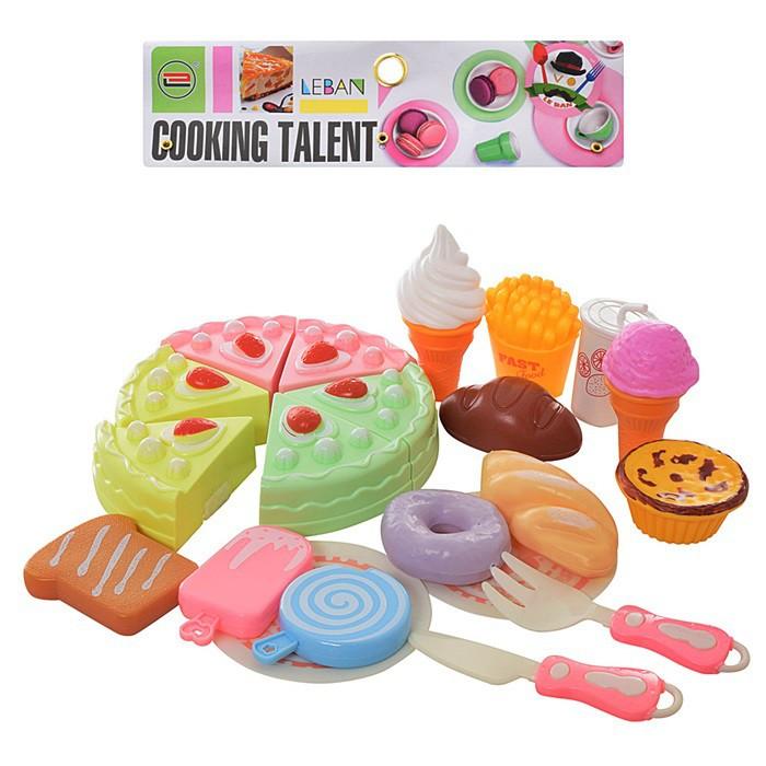 Продукты 6605E сладости, разрезные, на липучке, посуда, в пакете 30*21*7см