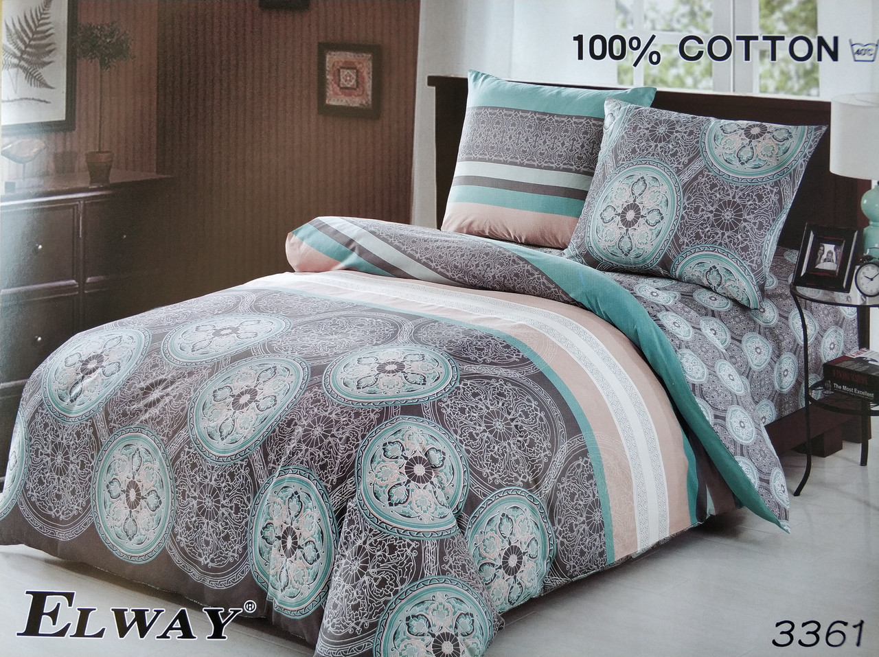 Сатиновое постельное белье полуторное  ELWAY 3361