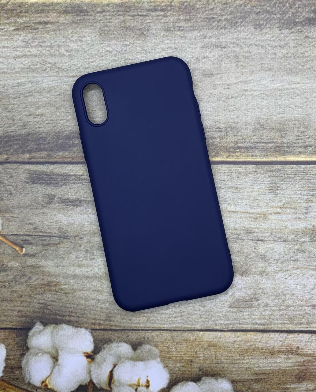 Чехол на iPhone X матовый цветной силиконовый синий