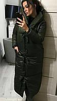 Пальто пуховик одеяло зима oversize с капюшоном. Женская зимняя длинная куртка.