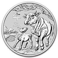 """Серебряная монета Австралии """"Lunar III - Год Быка"""" 31,1 грамм 2021 г."""