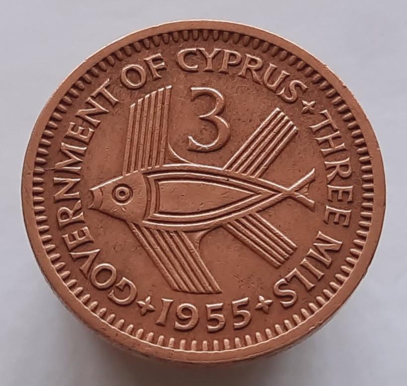 Британский Кипр 3 милса 1955