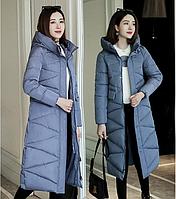 Женское зимнее стеганное пальто с капюшоном р.44-46