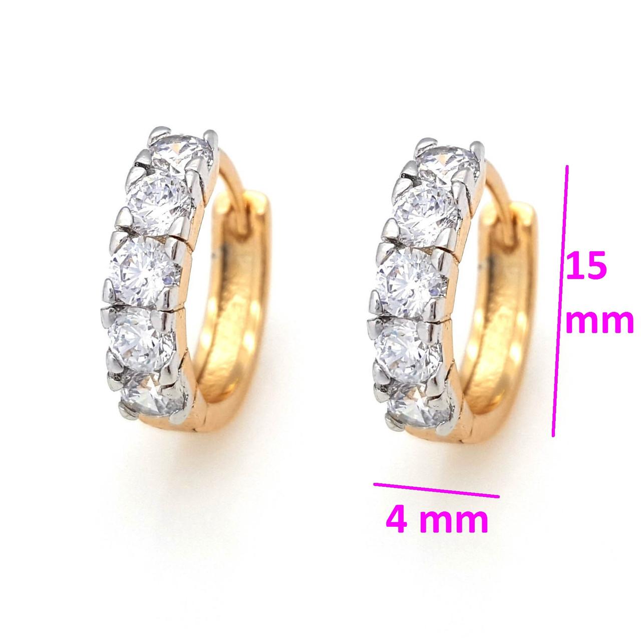 Сережки Доріжка п'ять камінчиків, позолота+родій, Xuping, 18К