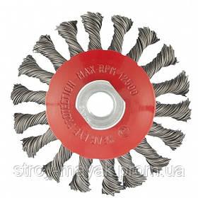 """Щетка """"тарелка"""" для УШМ 125 мм М14 витой провод 0.5 мм MTX"""