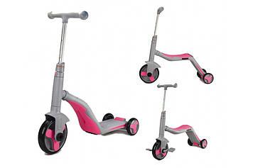 Детский самокат-велобег Самокат- велосипед  для ребенка Самокат 3 в 1 розовый Самокат девочке от 3-х лет