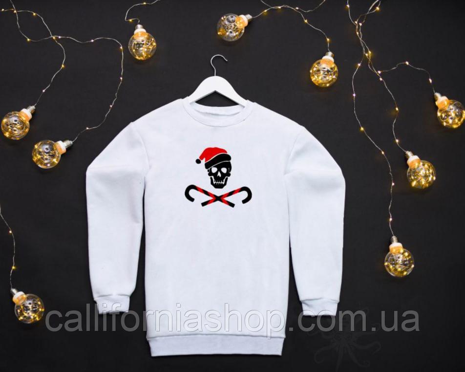 Мужской белый свитшот на флисе с новогодним принтом Bad Santa Плохой Санта Череп