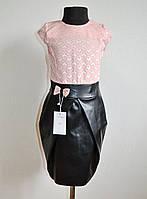 Нарядное платье для девочки 6-10 лет с юбкой из эко-кожи персиковое