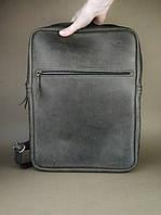 Кожаный мужской рюкзак под ноутбук ручной работы TsarArt в коричневом цвете с ручным швом