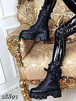 Женские зимние высокие ботинки кожаные на тракторной подошве со съемными кармашками черные 38-39р