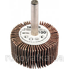 Круг YATO O = 40 мм с наждачных лепестков К100, со шпинделем к дрели O = 6 мм, h = 20 мм YATO YT-83354