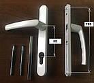 Нажимной гарнитур металлопластиковой двери 85/26/195/215 мм 2 винта Цвет белый, фото 2