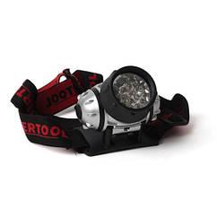 Налобний(Ліхтарик)Світлодіодний LED 19 3 батарейки ААА INTERTOOL LB-0301