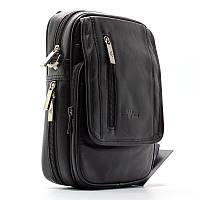 Мужская кожаная сумка Armani черная вертикальная через плечо arm-1059-1, фото 1