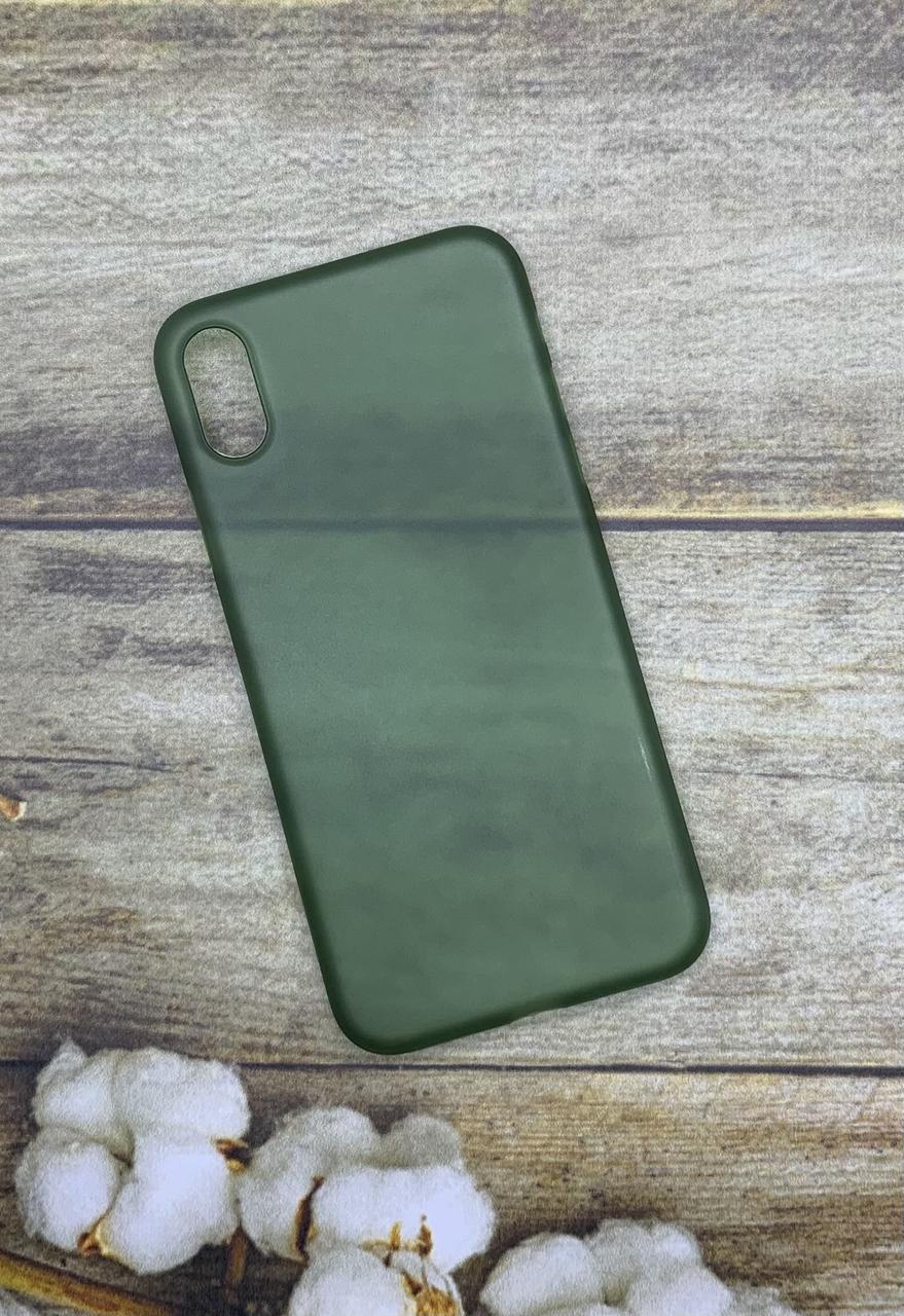 Чехол на iPhone XS прозрачный матовый зеленый