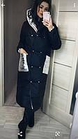 Пальто пуховик зима oversize с капюшоном. Женская зимняя длинная куртка-пальто