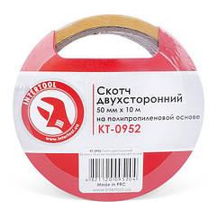 Скотч двосторонній на поліпропіленовій основі 50 мм * 10 м INTERTOOL KT-0952