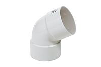 Коліно двухраструбное пластикової труби Profil Д=75мм, 60 градусів, колір білий