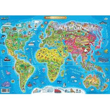 """Карта """"Світу"""" дитяча A2 №3762/Ранок/"""
