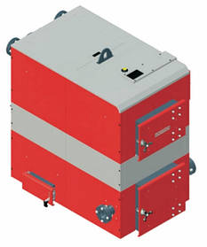 Котел твердотопливный DEFRO OPTIMA PLUS MAX (с автоматикой) 100 кВт. красно-серый