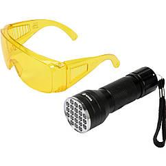Светодиодный(Фонарик)Ультрафиолетовый с Очками Для Обнаружения Протечек Жидкости(Проверки)Банкнот VOREL 82756