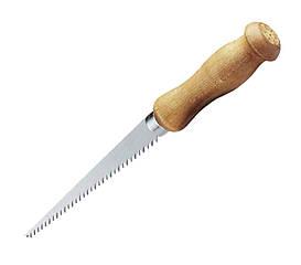 """Ножовка узкая 152мм  6TPI со """"сверлом"""" для гипсокартона, ручка прямая деревянная (блистер) (уп.6)"""