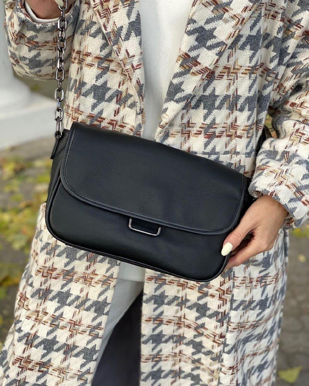 Женская кожаная сумка черная polina&eiterou