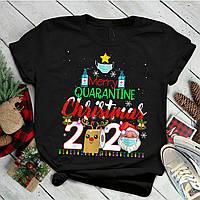 """Футболка з новорічним принтом """"Merry quarantine christmas 2020"""" Push IT"""