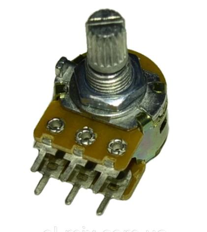 Резистор переменный  сдвоенный WH-148 B100K 15мм 6PIN, фото 2