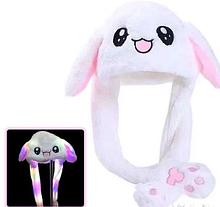 Светящаяся шапка БЕЛАЯ Pikachu toys soft toys with led с двигающими ушками