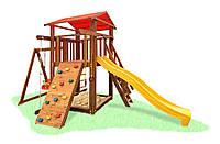 Дитячий дерев'яний вуличний Комплекс-майданчик з сосни: будиночок, пісочниця, гірка 504х300см тонування: Дуб 61595, фото 1