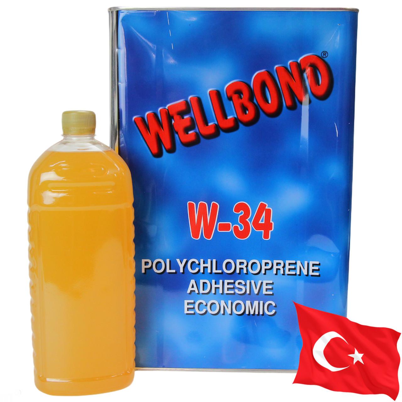 Клей wellbond w-34 (полихлоропреновый), тканей, карпета, ковролина, пластика и других покрытий, Турция 1л