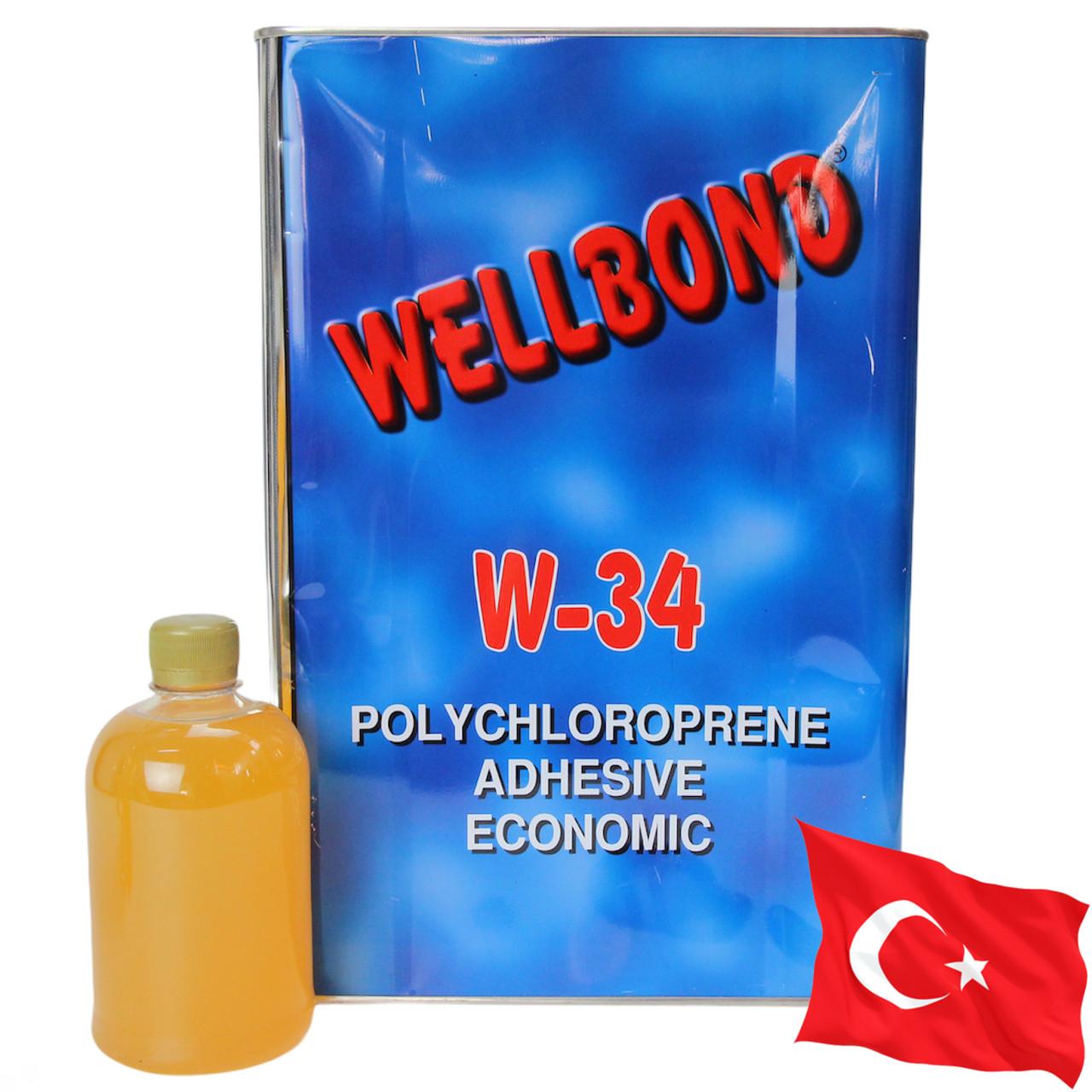 Клей wellbond w-34 (полихлоропреновый), тканей, карпета, ковролина, пластика и других покрытий, Турция 0,5л