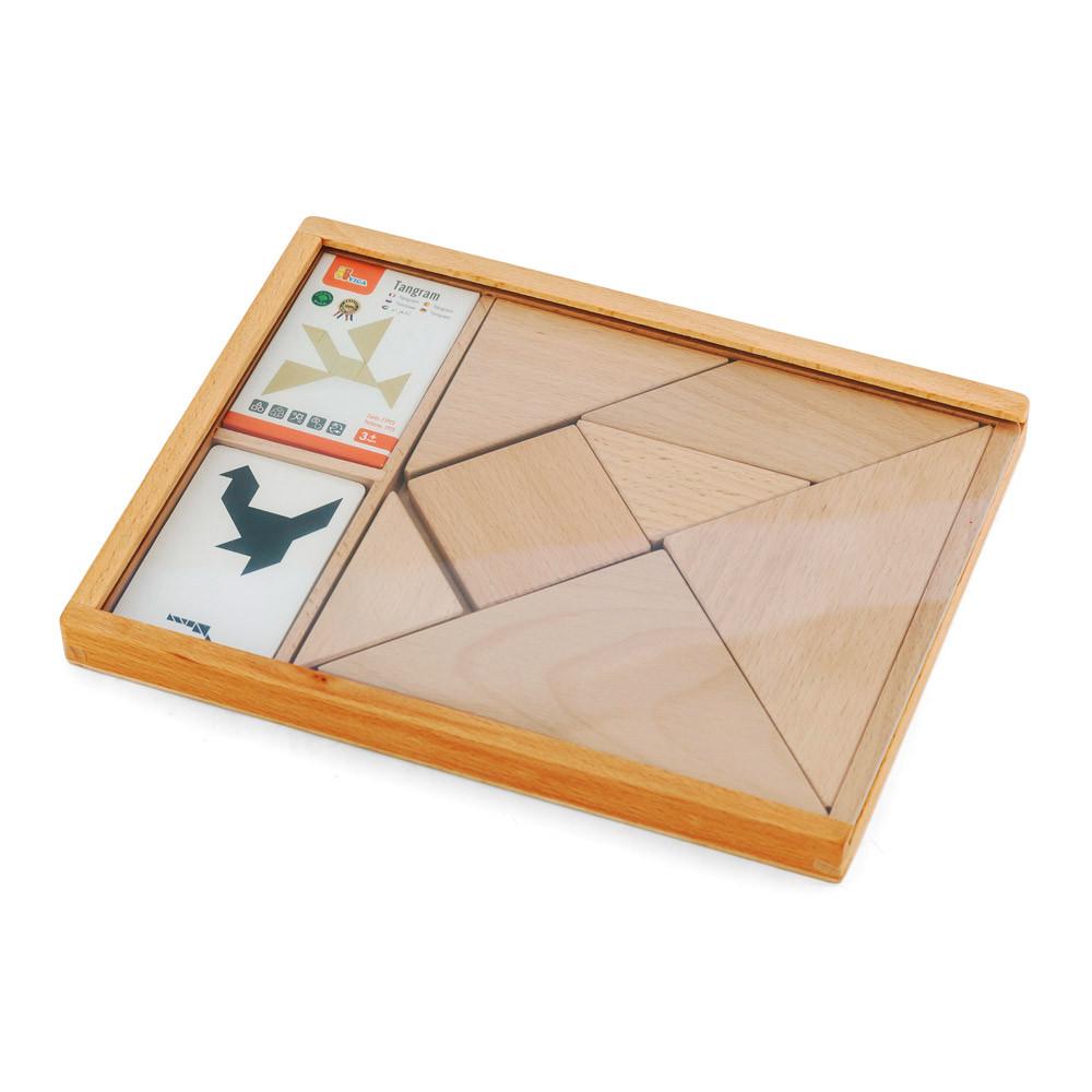 Игра-головоломка Деревянный танграм неокрашенный Viga Toys 56301