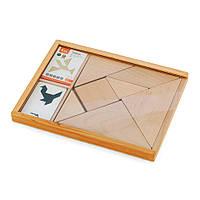 Игра-головоломка Деревянный танграм неокрашенный Viga Toys 56301, фото 1