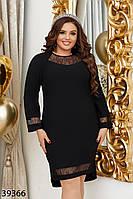 Черное платье с небольшими разрезами по бокам и удлиненной спинкой с 48 по 66 размер, фото 1