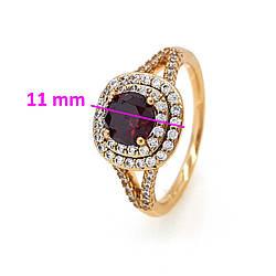 Кольцо с Красным камнем, р.18, позолота Xuping 18К