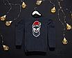 Мужской серый теплый свитшот кофта на флисе с новогодним принтом Bad Santa Плохой Санта Череп, фото 2