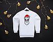 Мужской серый теплый свитшот кофта на флисе с новогодним принтом Bad Santa Плохой Санта Череп, фото 4