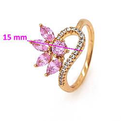 Кольцо Цветок с розовыми цирконием, p. 18, р. 18,5, позолота Xuping 18К