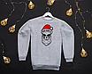 Мужской бордовый свитшот кофта на флисе с новогодним принтом Bad Santa Плохой Санта Череп, фото 2