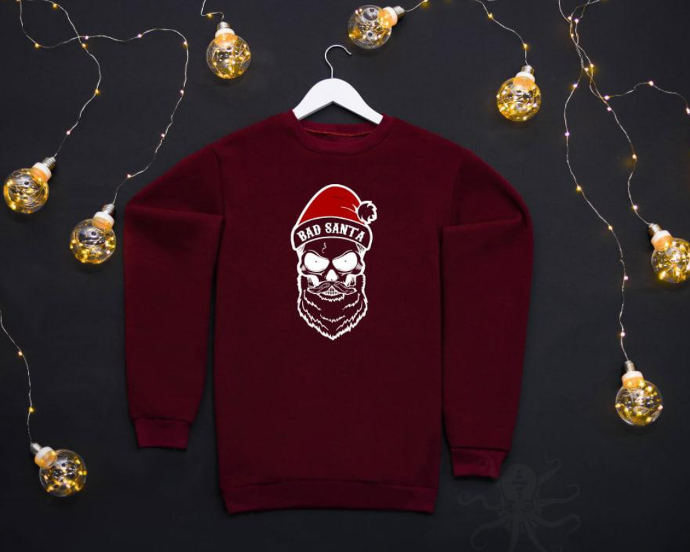 Мужской бордовый свитшот кофта на флисе с новогодним принтом Bad Santa Плохой Санта Череп