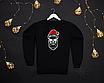 Мужской бордовый свитшот кофта на флисе с новогодним принтом Bad Santa Плохой Санта Череп, фото 5