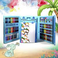 Набор для детского творчества и рисования Lesko Super Mega Art Set 208 предметов Blue 4696-13585, КОД: 1873591