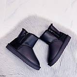 Женские угги черные сбоку молния эко кожа высота 13,5 см, фото 7