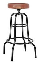 Стул барный SDM Винтаж высокий экокожа Черный с коричневым hubOjuh65718, КОД: 1936025
