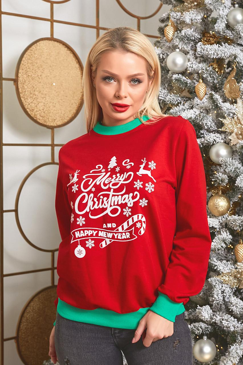 Батник трикотажний з новорічним принтом, жіночий червоний, розміри від 44 до 56, подарунок на новий рік