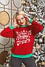 Батник трикотажний з новорічним принтом, жіночий червоний, розміри від 44 до 56, подарунок на новий рік, фото 3