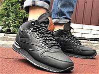 Шкіряні зимові теплі черевики на хутрі Reebok чорні з коричневим, фото 1